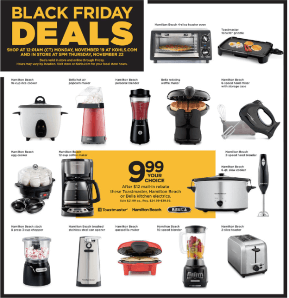 Kohl S Black Friday Best Deals On Small Kitchen Appliances Now Free Or 1 69 Bargains To Bounty
